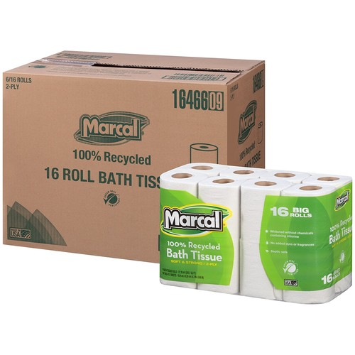 Marcal #16466 100% Recycled, Green Seal Certified Toilet Paper, 2-Ply, White, 168 sheets per roll, 96 rolls per case