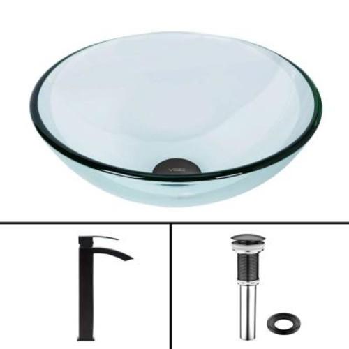 VIGO Glass Vessel Sink in Crystalline and Duris Vessel Faucet Set in Matte Black