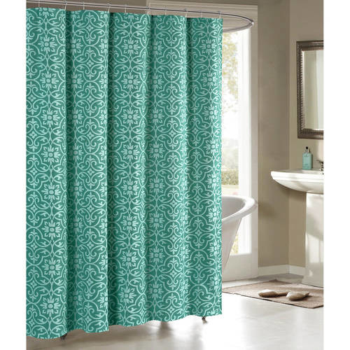 Creative Home Ideas Allure Printed Cotton Blend 72 in. W x 72 in. L Soft Fabric Shower Curtain Teal