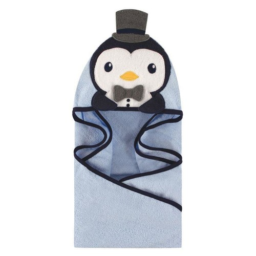 Hudson Baby Handsome Penguin Animal Face Hooded Towel