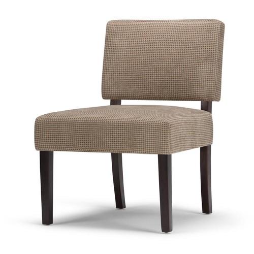 Simpli Home Virginia Tan Check Fabric Slipper Chair