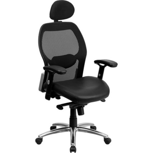 Brittany High-Back Black Mesh Executive Leather Swivel Chair w/Knee Tilt, Arms