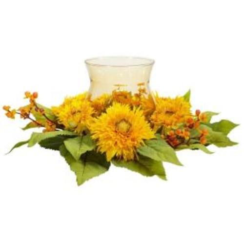 Nearly Natural 7.5 in. H Yellow Golden Sunflower Candleabrum Silk Flower Arrangement