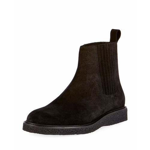 SAINT LAURENT Hugo 25 Suede Chelsea Boot, Black