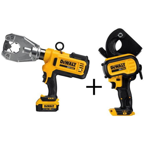 DEWALT 20-Volt MAX Lithium-Ion Cordless Dieless Cable Crimping Tool Kit with (2) Batteries 4Ah and Bonus Cable Cutting Tool