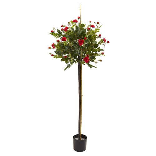 Nearly Natural 3' Rose Topiary Silk Tree