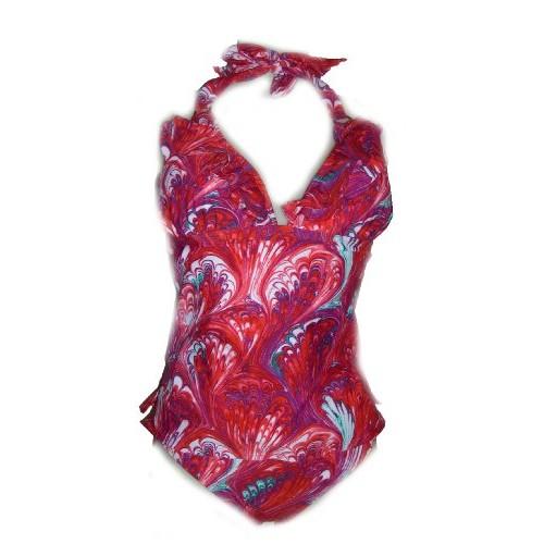 Womens Leilani Ruffle Tankini Swimsuit Top and Bikini Swimwear Bottoms Red Swirl 6 8 10 12 14
