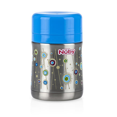 Nuby First Solids Insulated Stainless Steel Food Jar with Folding Spoon - Blue