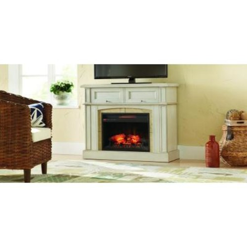 Home Decorators Collection Bellevue Park 42 in. Mantel Console Infrared Electric Fireplace in Antique White Finish