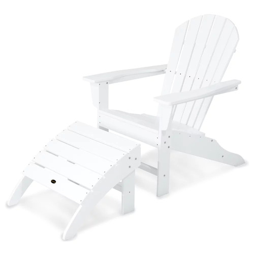 POLYWOOD 2-piece South Beach Adirondack Outdoor Chair & Ottoman Set