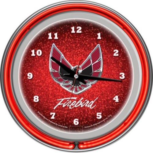 Trademark Global Pontiac Firebird Red Chrome Double Ring Neon Clock