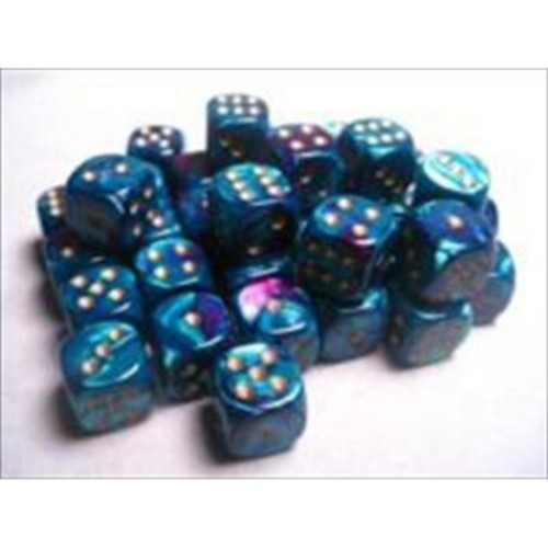 Chessex Manufacturing 26849 D6 Cube Gemini Set Of 36 Dice, 12 mm - Purple & Teal With Gold Numbering( ACDD2119)