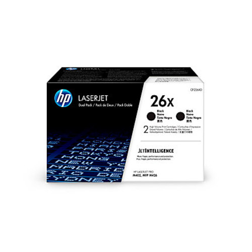 HP 26X (CF226XD) High-Yield Black Toner Cartridges, Pack Of 2