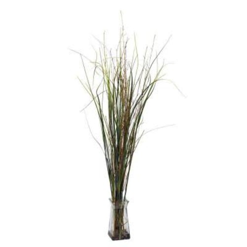 Nearly Natural Grass and Bamboo with Glass Vase Silk Plant