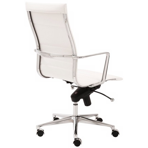 Euro Style Kyler Leatherette Adjustable Office Chair with Chromed Aluminum Base and Arms, High Back, White [White]