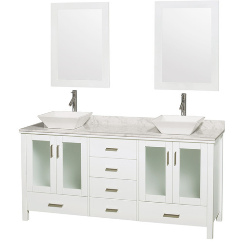Wyndham Collection Lucy Carrera Marble Counter Top 2-mirror Double Bathroom Vanity