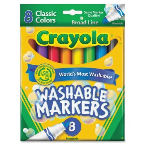 Crayola Classic Washable Marker Set - Broad Marker Point Type - Conical Marker Point Style - Red, Orange, Yellow, Green, Blue, Violet, Brown, Black Ink - 8 / Set (587808)