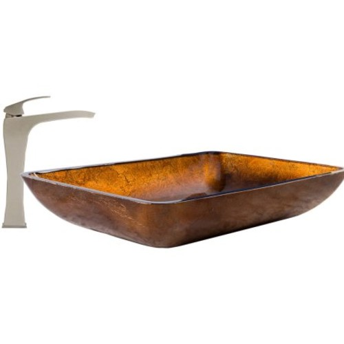 VIGO Glass Vessel Sink in Russet and Blackstonian Faucet Set in Brushed Nickel