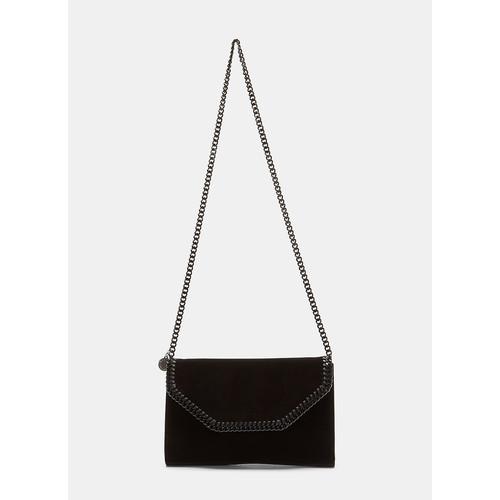 Velvet Falabella Box Shoulder Bag in Black