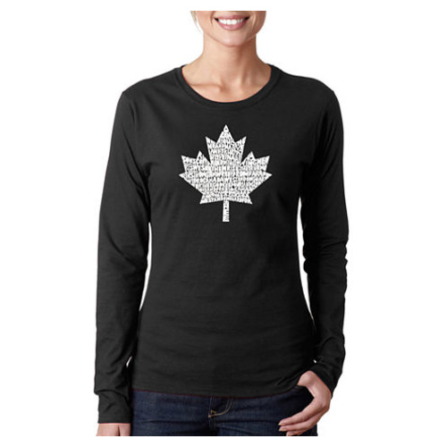 Los Angeles Pop Art Canadian National Anthem Womens Long Sleeve Word Art Graphic T Shirt JCPenney