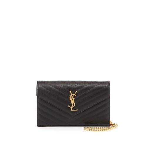 SAINT LAURENT Monogram Matelasse Shoulder Bag, Black