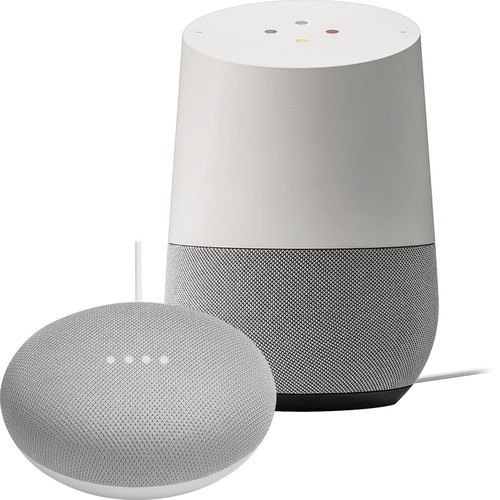 Google - Home & Google Home Mini in Chalk Package