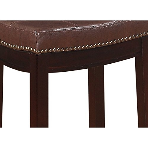 Linon Claridge Patches Counter Stool, 24-Inch, Brown [brown]