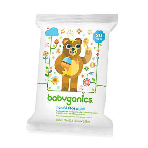 Babyganics 30-Count Fragrance-Free Hand and Face Wipes