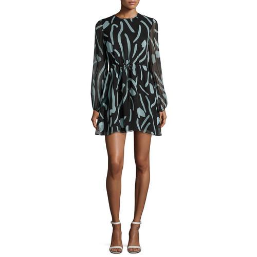 DIANE VON FURSTENBERG Long-Sleeve Crewneck Silk Mini Dress