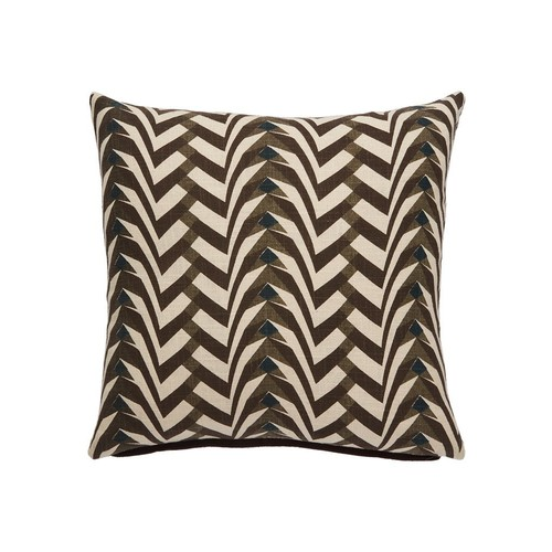 National Geographic Home Collection Pillow in Pebble & Tobacco Brown design by Jaipur - Poly Filled [Fill : Poly Filled]