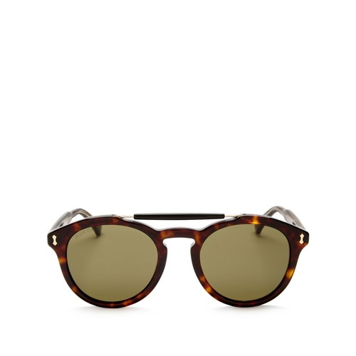 GUCCI Vintage Pilot Brow Bar Round Sunglasses, 48Mm