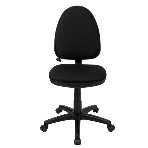 Flash Furniture Mid-Back Black Fabric Multifunction Swivel Task Chair with Adjustable Lumbar Support [Black]