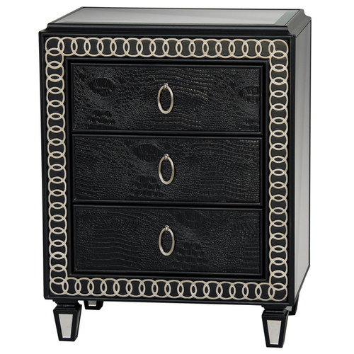 Hand Painted Distressed Faux Crocodile Print Black Finish Accent Chest