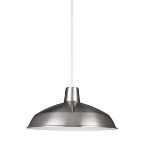 Sea Gull Lighting Painted Shade Pendant 14-Watt Brushed Stainless Integrated LED Pendant