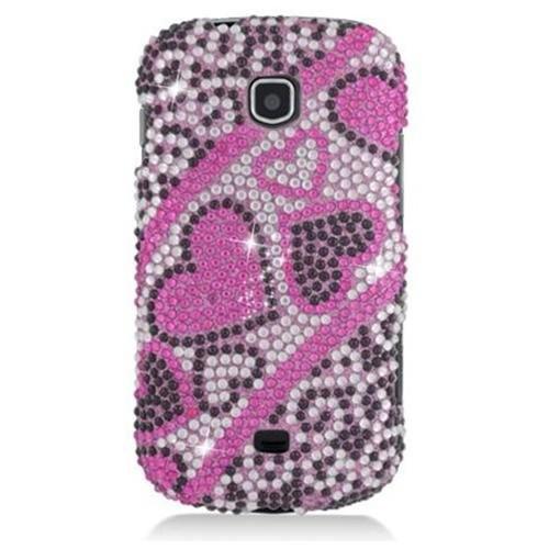 Samsung Galaxy Stellar I200 Full Diamond Protector Case Heart Pink Black 384 Cover Case - ENSPDSAMI200F384