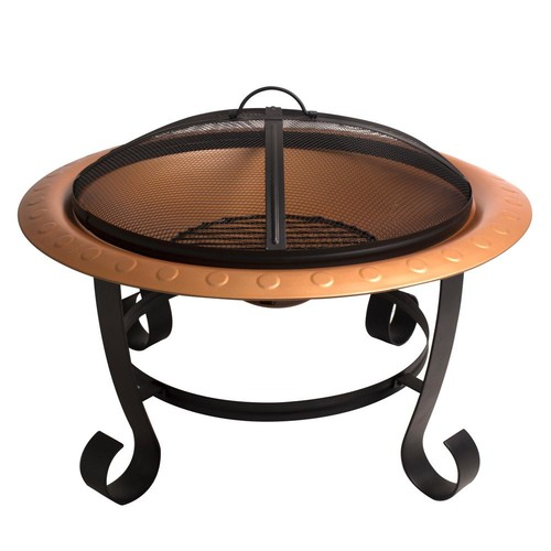Pleasant Hearth Brentwood 30 in. Round Steel Fire Pit in Copper with Cooking Grid