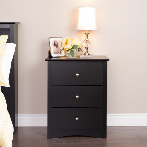 Prepac Manufacturing Ltd Sonoma 3-drawer Tall Nightstand, Black