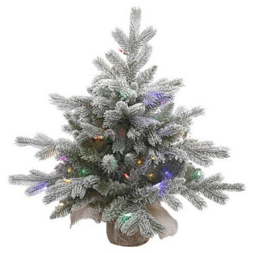 2ft Pre-Lit White Frosted Artificial Christmas Tree With Burlap Base And MultiColored LED Lights