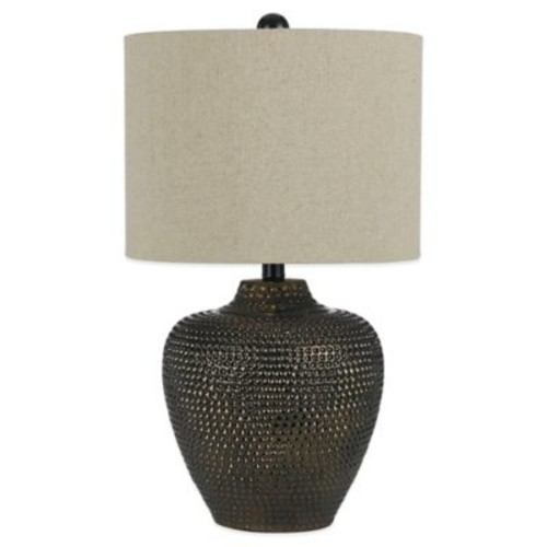 angelo:HOME Danbury Table Lamp in Brown with Dark Linen Shade