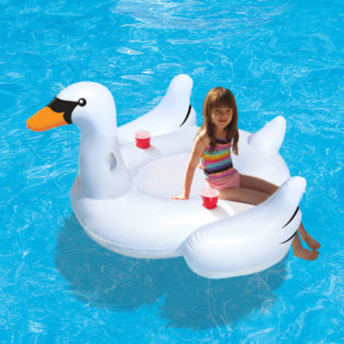 Blue Wave Swan Float Inflatable Pool Toy w 2 Drink Holders Ride-On Blue Wave NT2672
