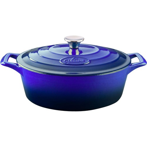 La Cuisine Oval 6.75 Qt. Cast Iron Casserole with Enamel in High Gloss Sapphire