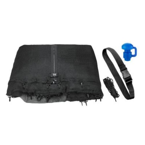 Upper Bounce Trampoline Enclosure Net Fits for 8 ft. Round Frames Works with Multiple Amount of Poles-Pole Caps Include