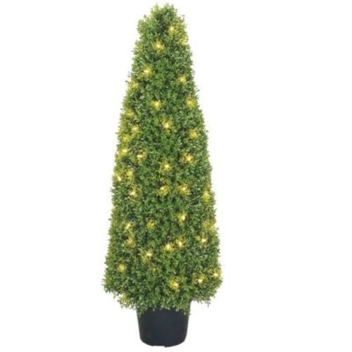 National Tree Company 48 in. Boxwood Tree with Dark Green Growers Pot with 100 Clear Lights