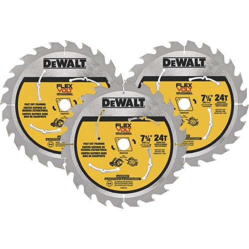 DEWALT FLEXVOLT Circular Saw Blade  3-Pk., 7 1/4in. Dia., 24 Tooth, Fast Cut Framing, For Wood,