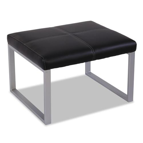 Alera Cube Ottoman - Black/Silver