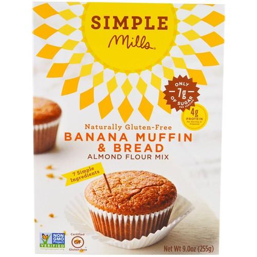 Simple Mills, Naturally Gluten-Free, Almond Flour Mix, Banana Muffin & Bread, 9 oz (255 g) [Flavor : Banana Muffin & Bread]