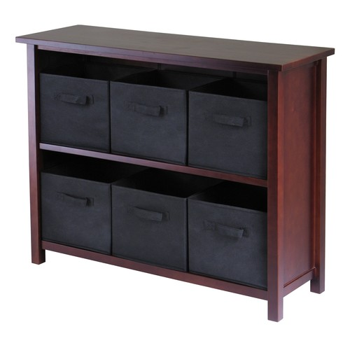 Winsome Wood Verona Wood 3 Tier Open Cabinet with 6 Black Folding Fabric Baskets [Brown, black basket]