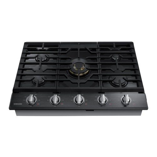 Samsung 36 in. Gas Cooktop in Black Stainless Steel with 5 Burners including Dual Ring Brass Power Burner