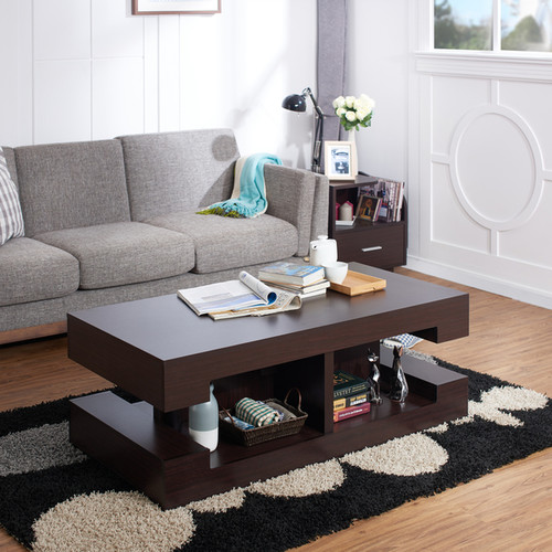 Furniture of America Brahme Modern Espresso Cut-out Coffee Table
