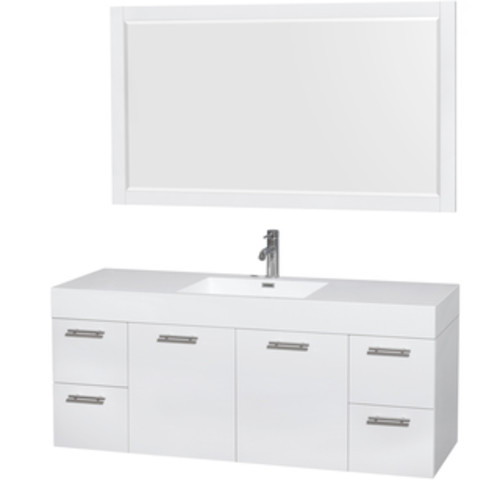 Wyndham Collection Amare 60-inch Glossy White/ Green Glass Double Vanity with Medicine Cabinet and Gloss Sinks